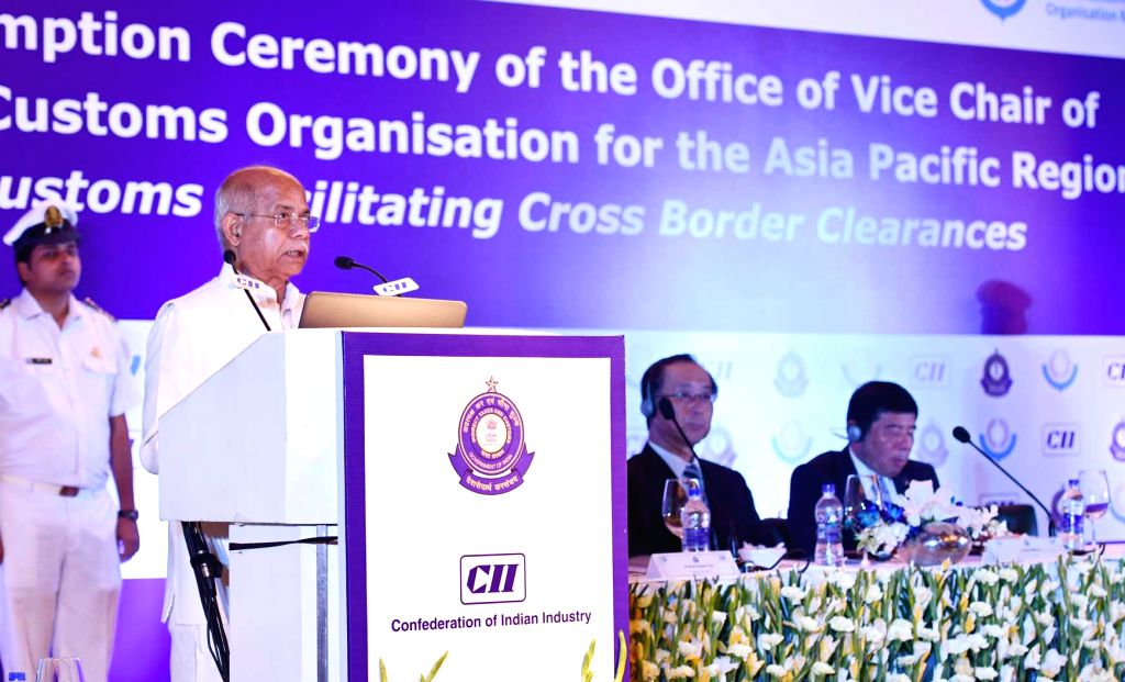 Union MoS Finance Shiv Pratap Shukla addresses at the Assumption Ceremony of the Office of Vice Chair of World Customs Organisation (WCO) for the Asia Pacific region, in New Delhi on July ...