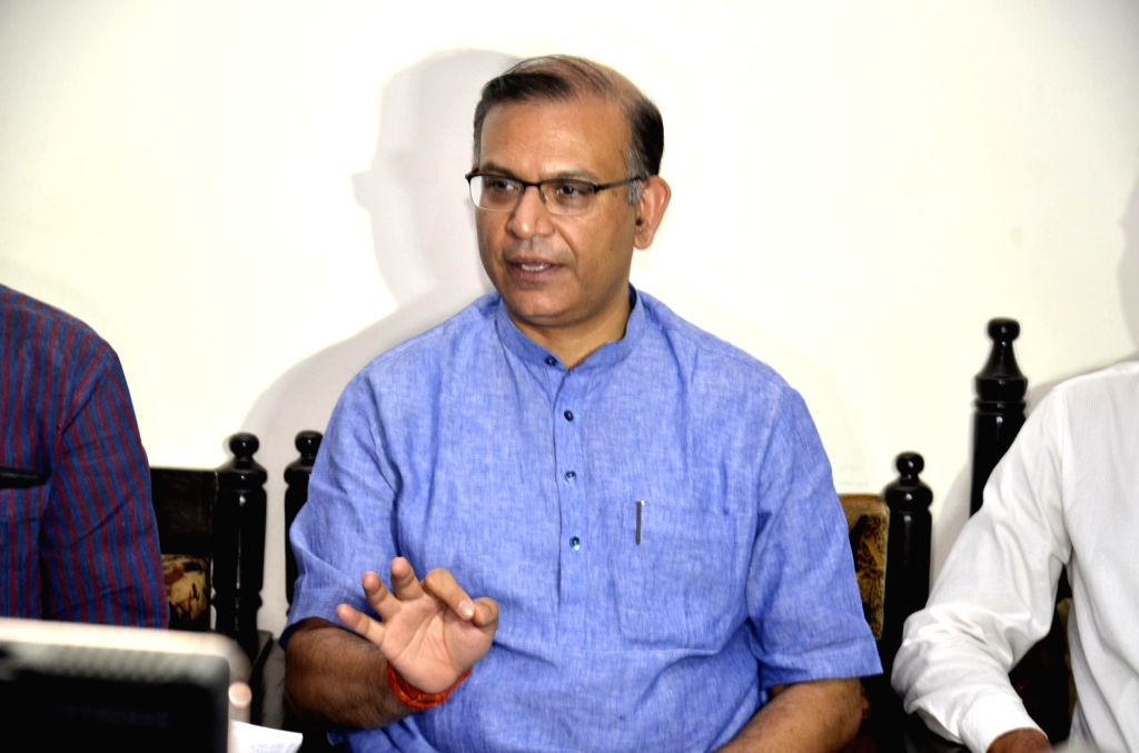 Union MoS for Civil Aviation Jayant Sinha addresses a press conference in Ranchi on Oct 7, 2016. - Aviation Jayant Sinha