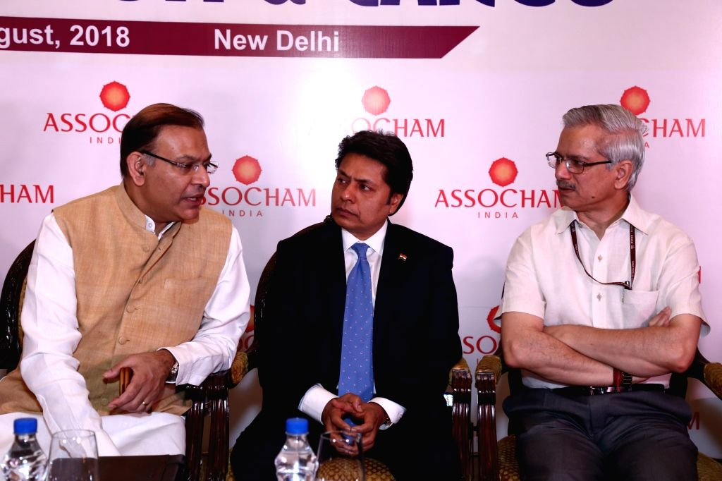Union MoS for Civil Aviation Jayant Sinha, Ministry of Civil Aviation Secretary RN Choubey and ASSOCHAM President Sandeep Jajodia during the ASSOCHAM 11th International ... - Aviation Jayant Sinha