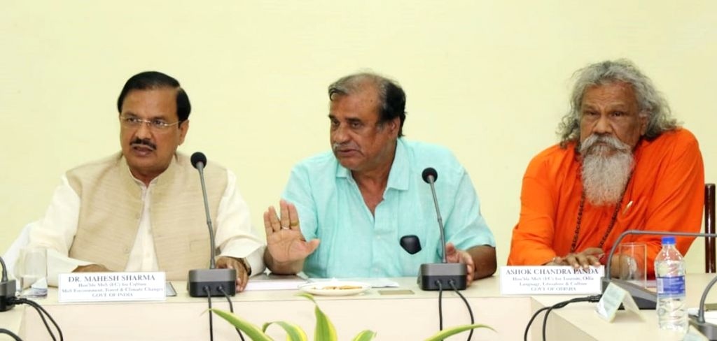 Union MoS for Culture (I/C) and Environment, Forest and Climate Change, Dr. Mahesh Sharma with Odisha Minister of Culture and Tourism Ashok Chandra Panda at a meeting to review the ... - Mahesh Sharma