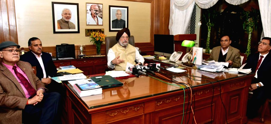 Union MoS for Housing and Urban Affairs (I/C) Hardeep Singh Puri addresses a Post Budget press conference in New Delhi on February 6, 2018. Also seen Ministry of Urban Development ... - Hardeep Singh Puri