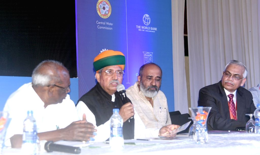 Union MoS for Parliamentary Affairs, Water Resources, River Development and Ganga Rejuvenation Arjun Ram Meghwal addresses a press conference on the sidelines of the International ...