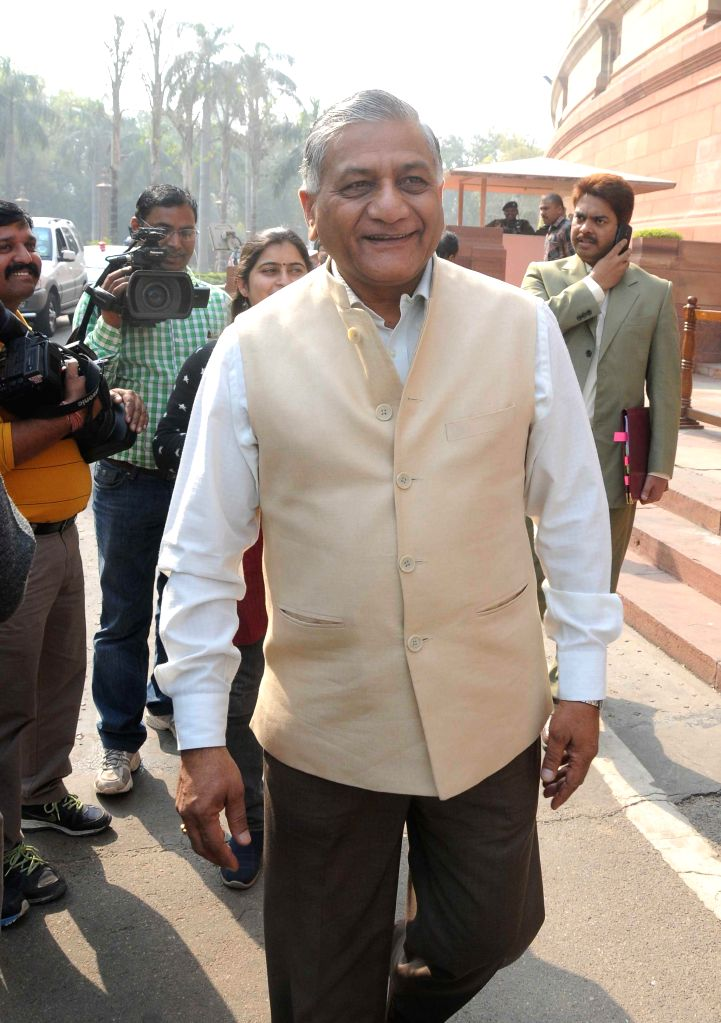 Union MoS for Statistics and Programme Implementation (Independent Charge), External Affairs and Overseas Indian Affairs General (Retd.) V K Singh at the Parliament in New Delhi, on Nov 27, 2014. - V K Singh