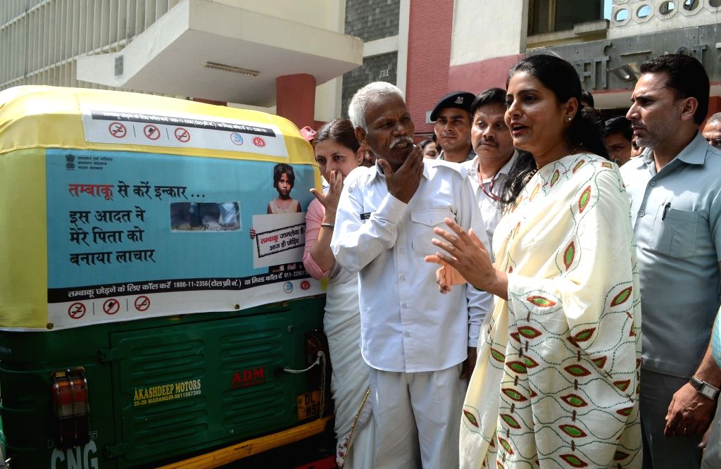 Union MoS Health and Family Welfare Anupriya Patel flags off an Auto rally on the occasion of 'World No Tobacco Day', in New Delhi on May 31, 2018. - Welfare Anupriya Patel