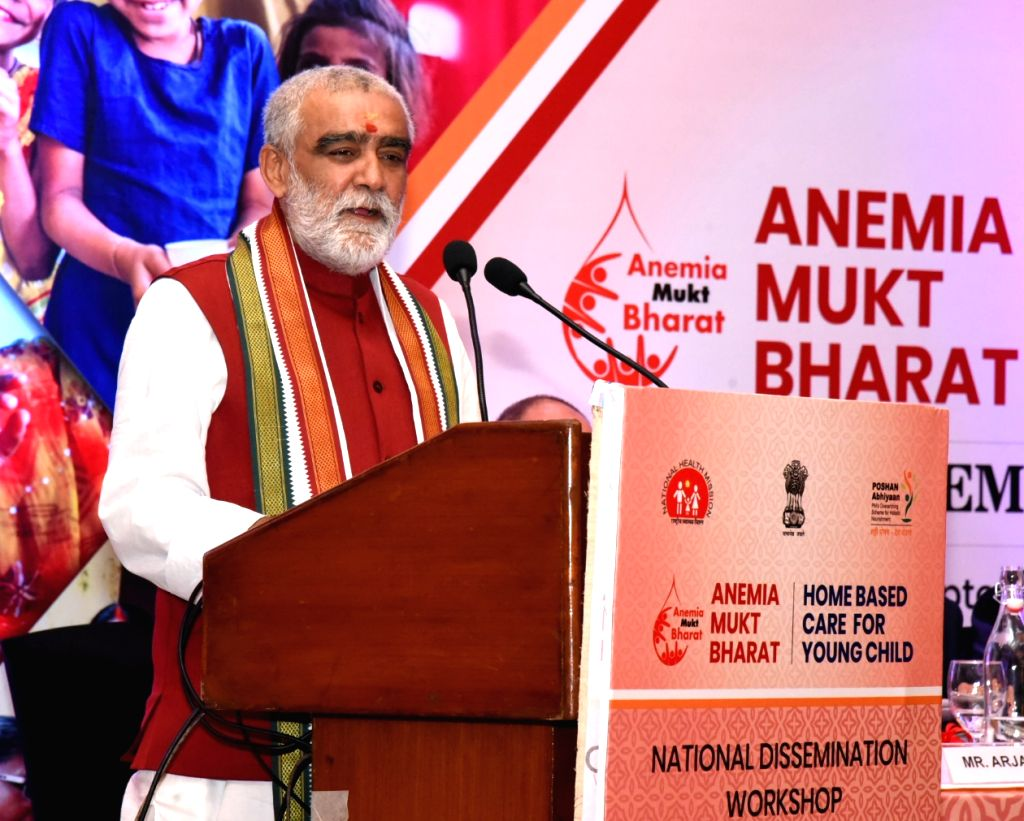 Union MoS Health and Family Welfare Ashwini Kumar Choubey addresses at the inauguration of the two-day National Dissemination Workshop on Anemia Mukt Bharat and Home-Based care for Young ...