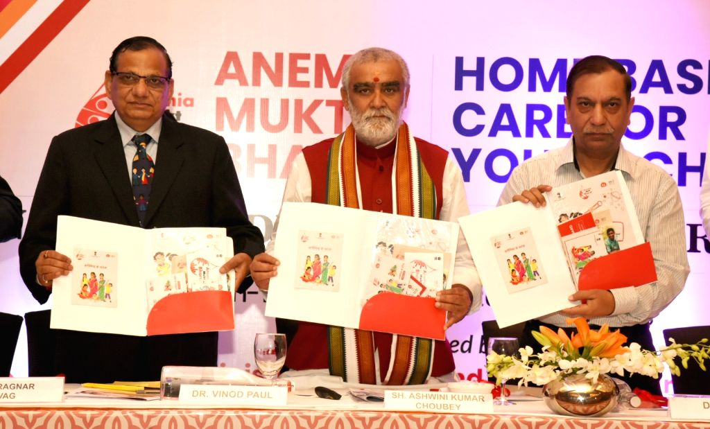 Union MoS Health and Family Welfare Ashwini Kumar Choubey releases the Toolkit for Anemia Mukt Bharat and Home-Based care for Young Child Care (HBYC) programmes, at the inauguration of the ...