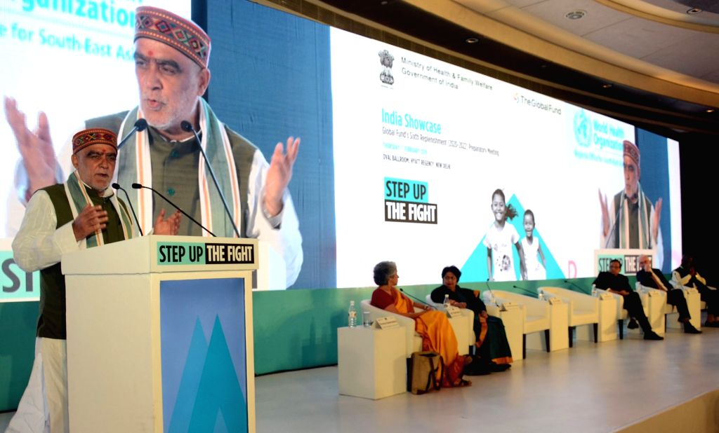 Union MoS Health and Family Welfare Ashwini Kumar Choubey addresses at 'India Showcase' - Global Fund's Sixth Replenishment (2020-22) Preparatory Meeting, in New Delhi on Feb 7, 2019.