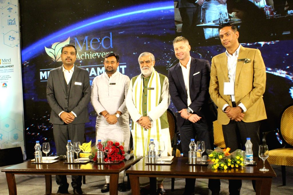 Union MoS Health and Family Welfare Ashwini Kumar Choubey, Former Australian cricketer and healthcare entrepreneur Michael Clarke and other dignitaries during Med Parliament organised by ...