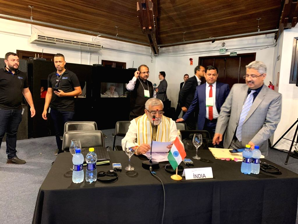 Union MoS Health and Family Welfare Ashwini Kumar Choubey addresses at the 9th BRICS Health Ministers Meeting in Curitiba, Brazil on Oct 26, 2019. - Meeting