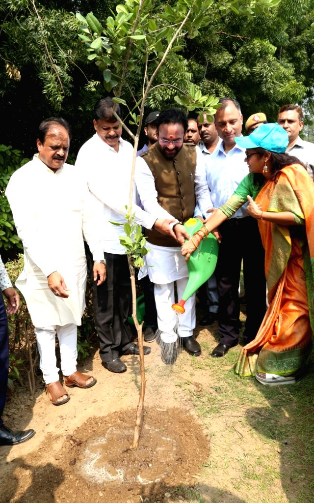 Union MoS Home Affairs G. Kishan Reddy participates in a tree plantation and plogging drive organised by NDMC along with a drive on reducing single use plastic, in New Delhi on Oct 17, ...