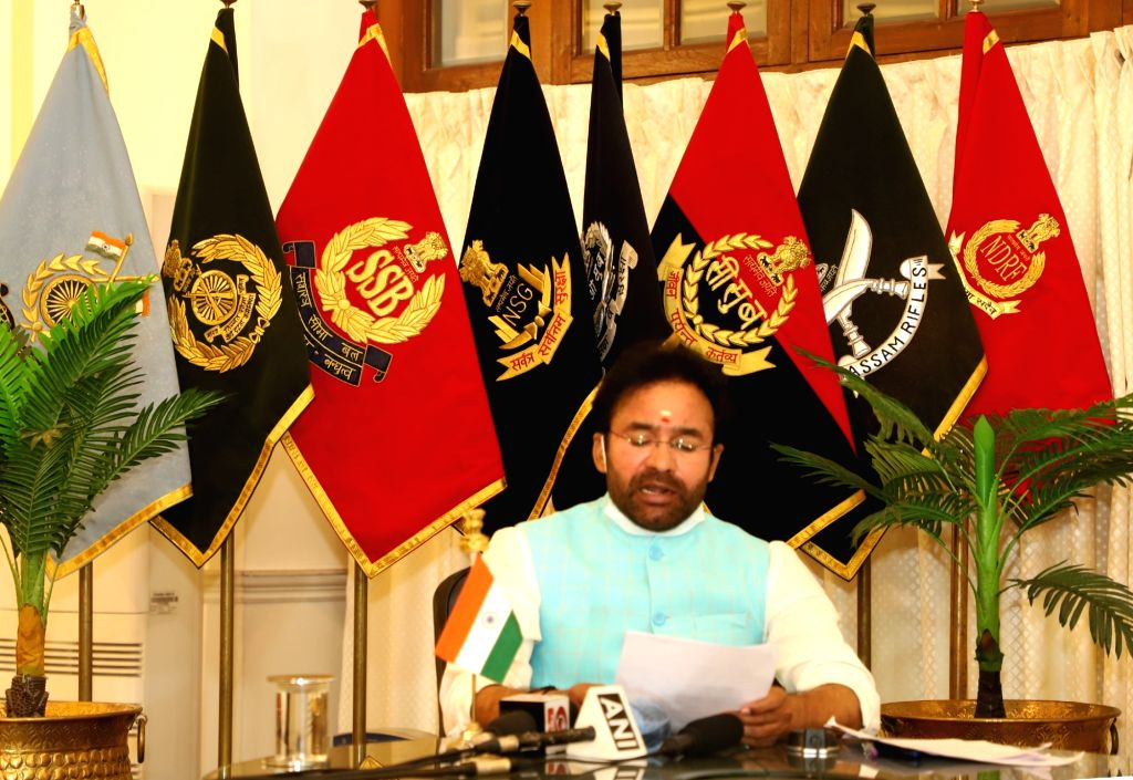 Union MoS Home Affairs G. Kishan Reddy addresses the e-PoP (Passing out Parade) of the 51st Batch of Directly Appointed Gazetted Officers (DAGOs) of CRPF, through video conferencing during ...