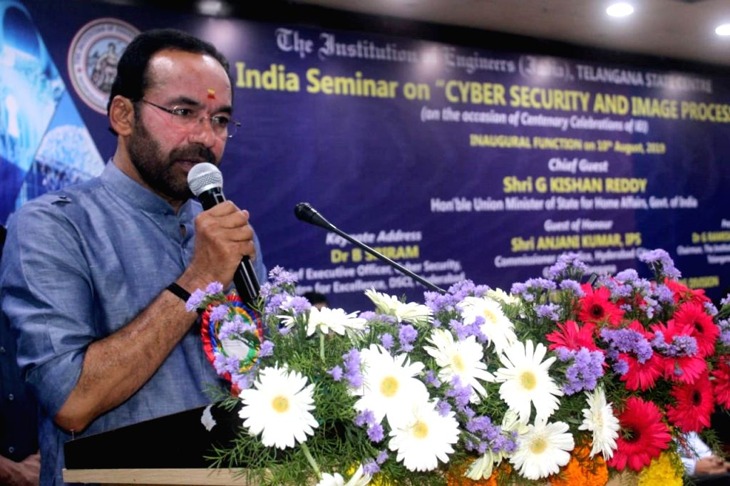 Union MoS Home Affairs G. Kishan Reddy addresses at the All India Seminar on ???Cyber Security And Image Processing??? in Hyderabad on Aug 10, 2019.