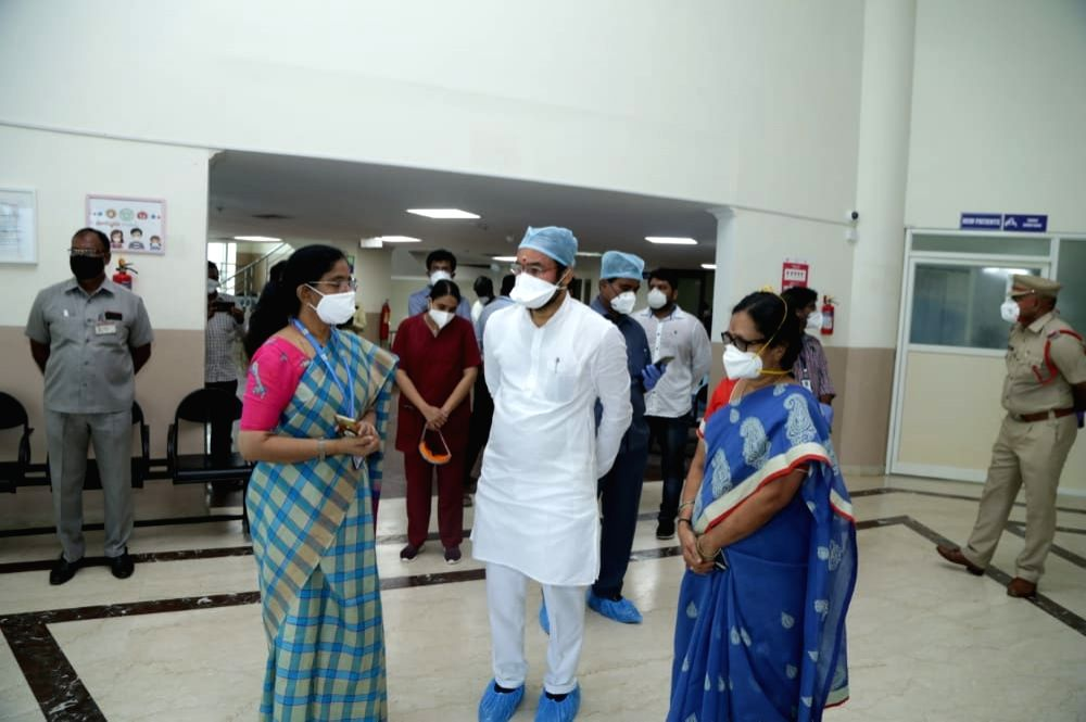 Union MoS Home Affairs G. Kishan Reddy during his inspection visit to COVID-19 designated hospitals in Hyderabad on Aug 1, 2020.