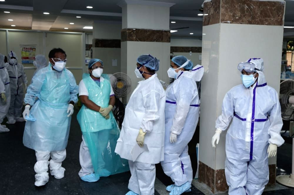 Union MoS Home Affairs G. Kishan Reddy pays inspection visit to the COVID-19 ward of the Gandhi Hospital in Hyderabad on Aug 1, 2020.