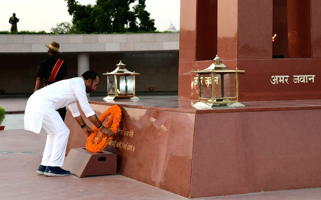 Union MoS Home Affairs G. Kishan Reddy pays tribute to martyrs at National War Memorial, in New Delhi on June 14, 2019.