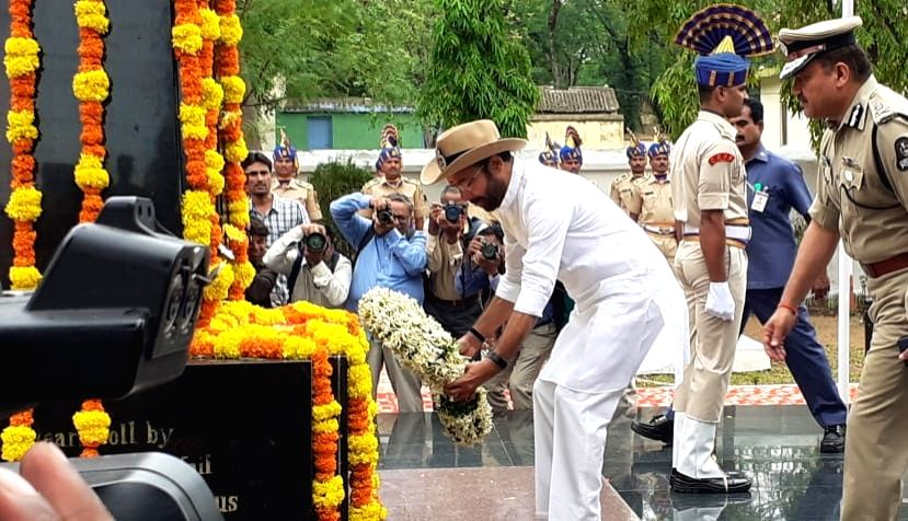 Union MoS Home Affairs G. Kishan Reddy pays tributes at Martyrs Memorial at the CRPF Group Center Chandrayangutta, on the occasion of the 81st Raising Day of the CRPF, in Hyderabad on July ...