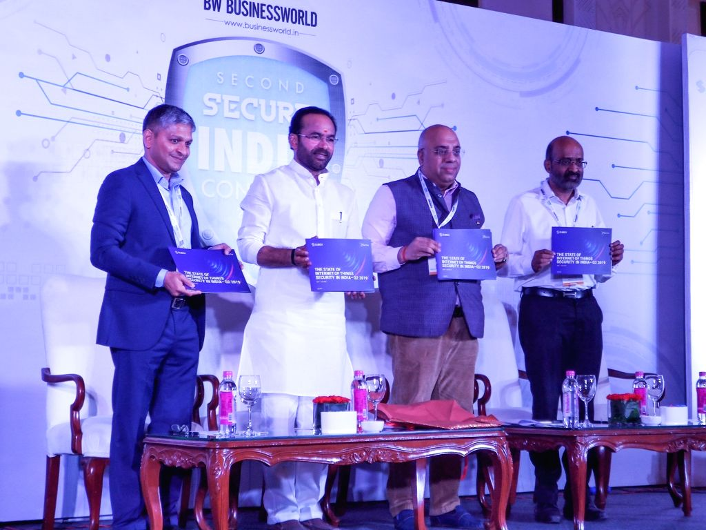 Union MoS Home Affairs G. Kishan Reddy releases the State of Internet of Things (IoT) Security in India report from Subex in New Delhi on Aug 9, 2019.