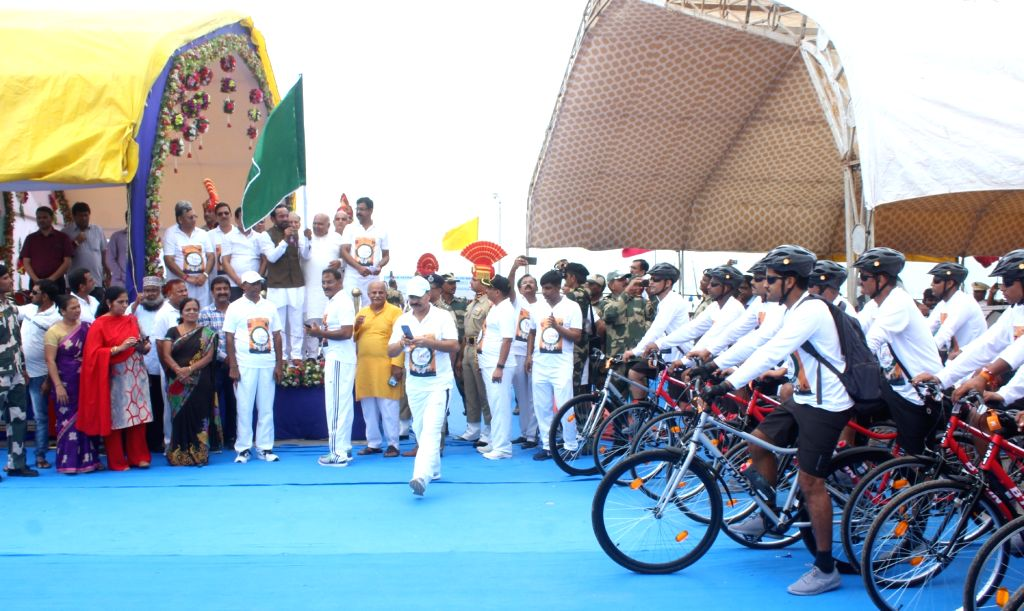 Union MoS Home Affairs G. Kishan Reddy with the cycling contingent ahead of flagging-off the Cycle Rally organised by various Paramilitary Forces as part of celebrations to commemorate ...