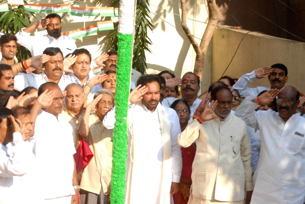 Union MoS Home Affairs G. Kishen Reddy and Telangana BJP President K. Laxman salute the tricolor at the flag hoisting ceremony held at the state party headquarters on the occasion of 71st ...