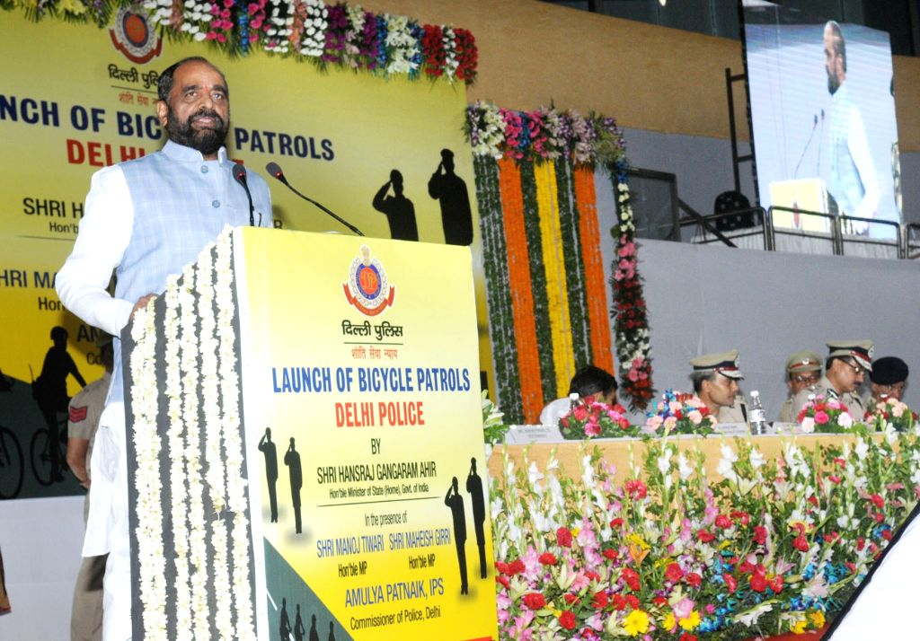 Union MoS Home Affairs Hansraj Gangaram Ahir addresses at the launch of Delhi Police's Bicycle Patrols in Delhi on May 30, 2017.