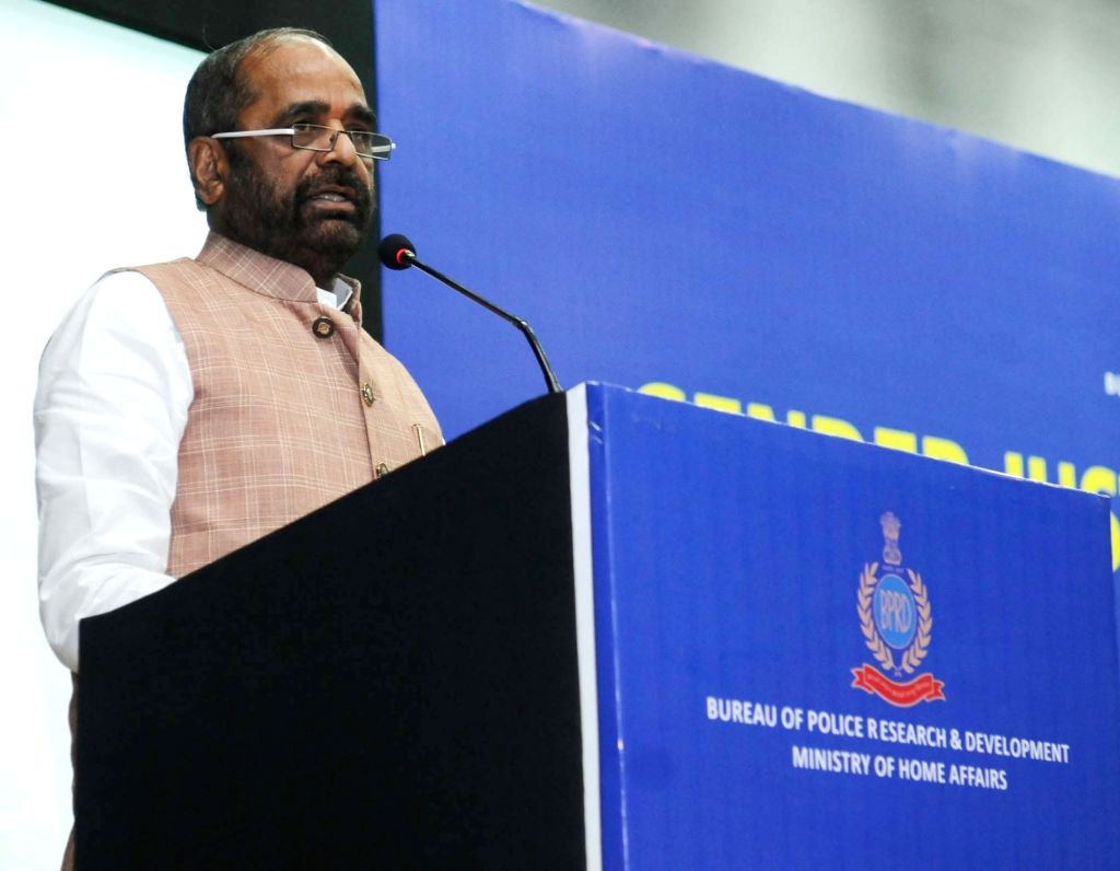 "Union MoS Home Affairs Hansraj Gangaram Ahir addresses at the inauguration of the Conclave on ""Gender Justice in Criminal Law"", organised by the Bureau of Police Research and ..."