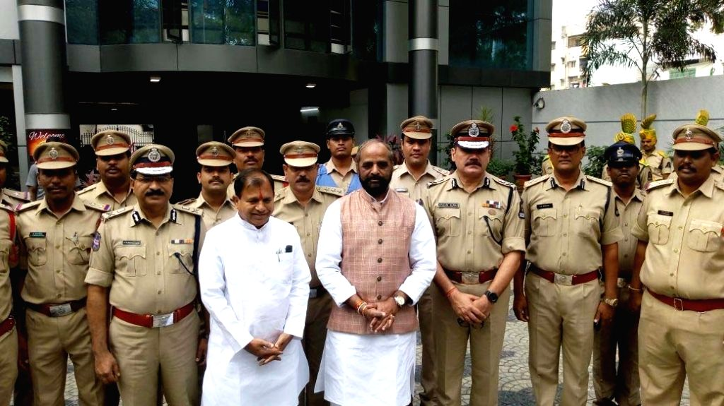 Union MoS Home Affairs Hansraj Gangaram Ahir and Director-General of Police M Mahender Reddy visits Panjagutta Police Station, in Hyderabad, on Sept 18, 2018. - M Mahender Reddy