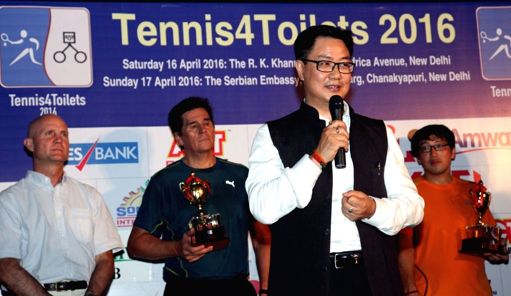 Union MoS Home Affairs Kiren Rijiju addresses during the closing ceremony of 'Tennis4Toilets' - a charity event  organised at the Embassy of the Republic of Serbia in New Delhi on April ...