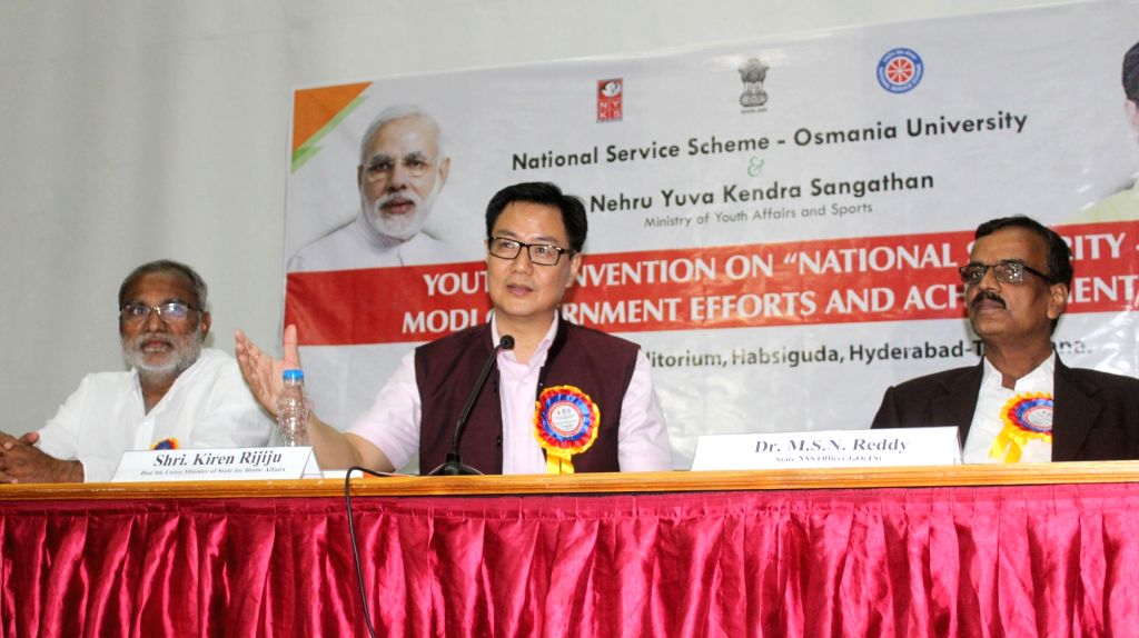 "Union MoS Home Affairs Kiren Rijiju addresses a gathering at the inauguration of the ""Youth Convention on National Security - Modi Government Efforts and Achievement"", jointly ..."