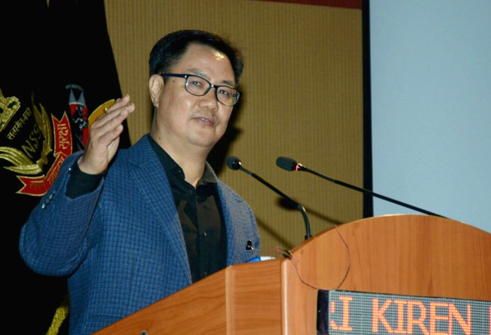 "Union MoS Home Affairs Kiren Rijiju addresses at the 19th International Seminar on ""Synergized Response to the Emerging IED & Terrorist Threats"" in Manesar, Haryana, on Feb 13, 2019."