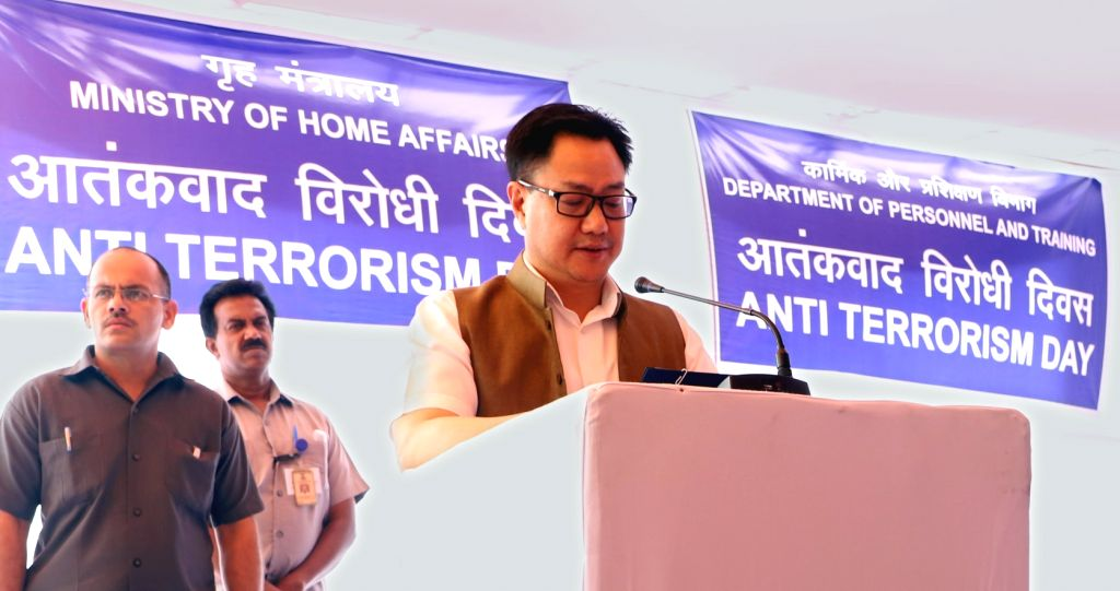 Union MoS Home Affairs Kiren Rijiju administers the Anti-Terrorism Pledge to officials of the Ministry of Home Affairs and Department of Personnel and Training, in New Delhi on May 21, ...