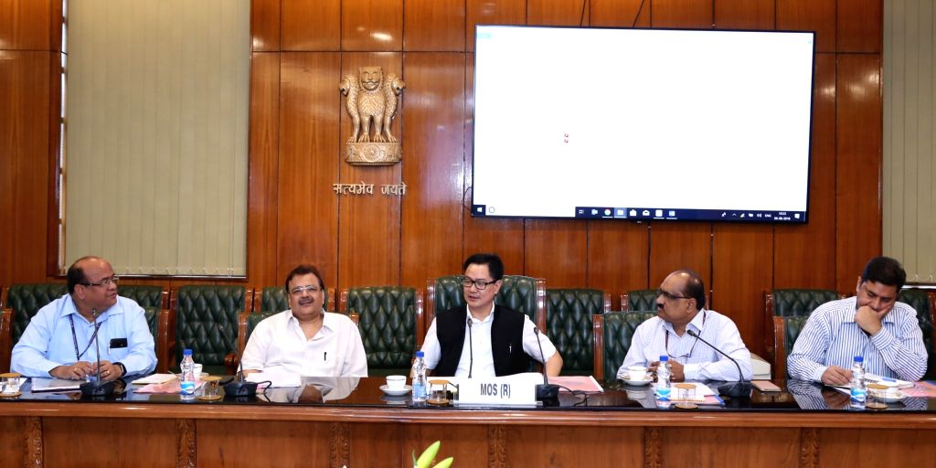 Union MoS Home Affairs Kiren Rijiju chairs a review meeting on Department of Official Language's Translation Memory software ''Kanthasth'', in New Delhi, on  Aug 6, 2018