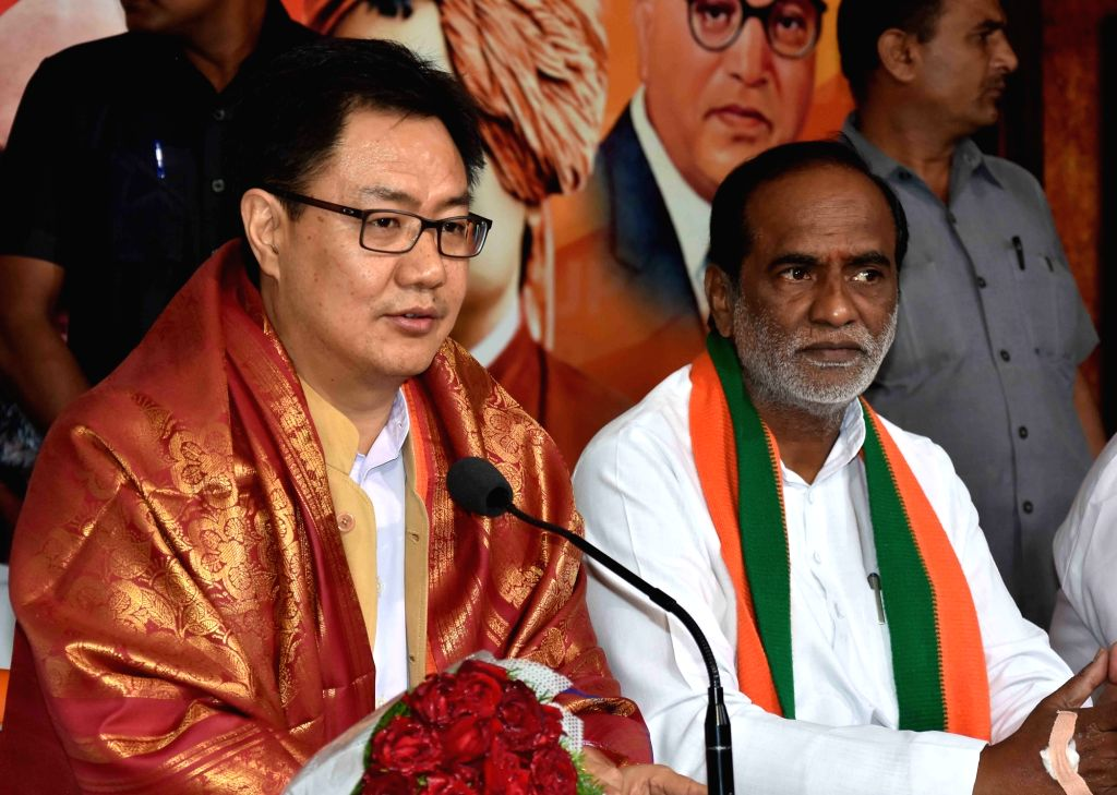 Union MoS Home Affairs Kiren Rijiju during a BJP programme in Hyderabad on June 26, 2016.