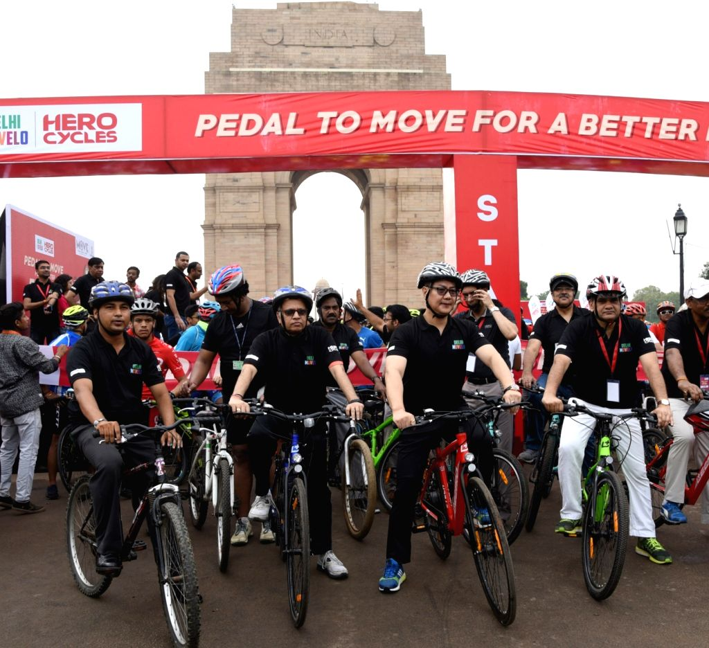 Union MoS Home Affairs Kiren Rijiju participates in the Cyclothon event, organised as a run up to the Move Summit by the NITI Aayog, in New Delhi on Sept 2, 2018.