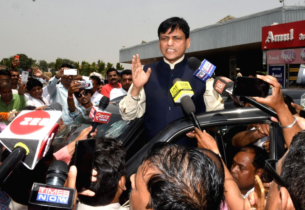 Union MoS Home and Ujiarpur BJP MP, Nityanand Rai talks to the media on his arrival at the Jay Prakash Narayan International Airport in Patna, on June 15, 2019. - Nityanand Rai