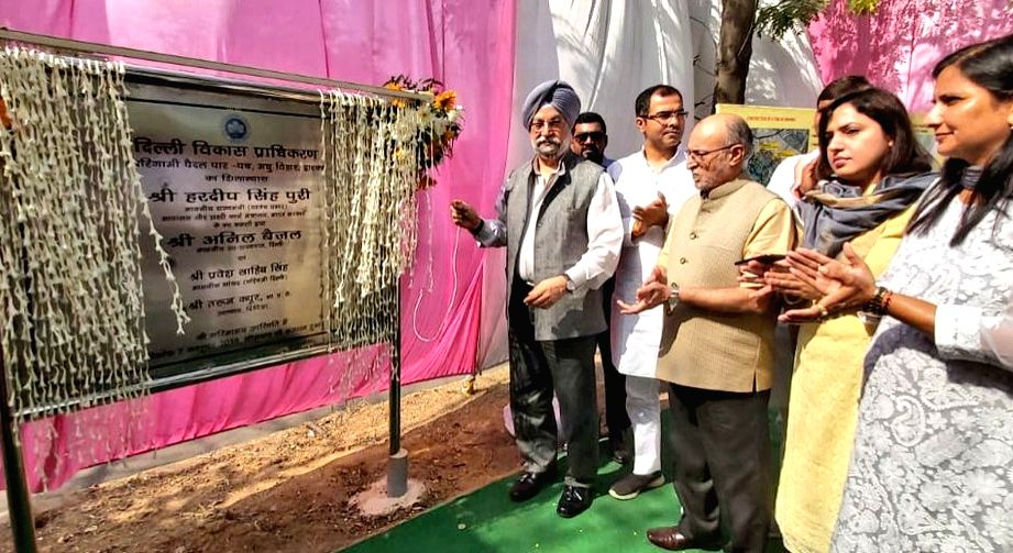 Union MoS Housing and Urban Affairs, Civil Aviation (Independent Charge) and Commerce and Industry Hardeep Singh Puri accompanied by Delhi Lieutenant Governor Anil Baijal, lays the ... - Hardeep Singh Puri