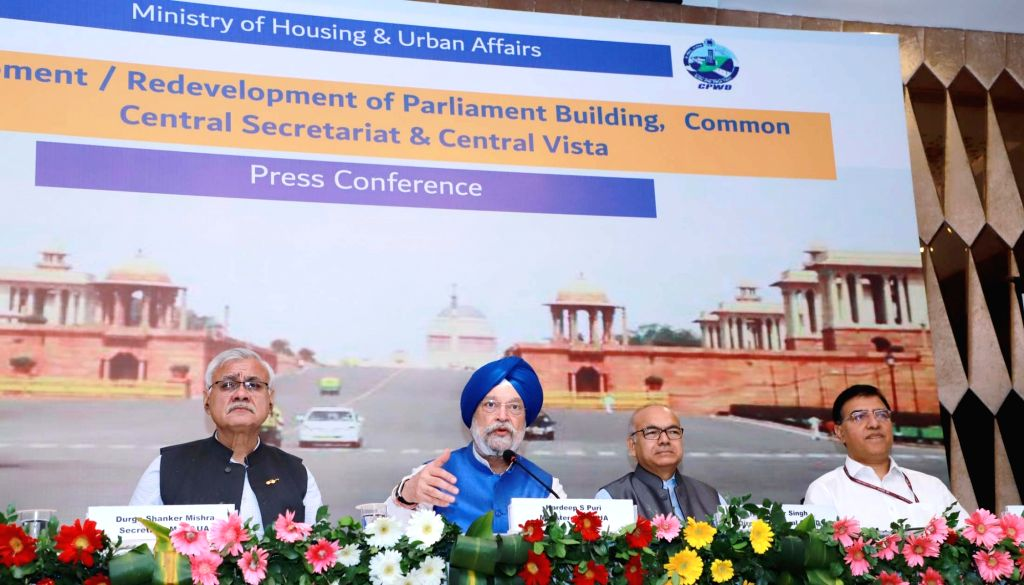 Union MoS Housing and Urban Affairs, Civil Aviation (Independent Charge) and Commerce and Industry Hardeep Singh Puri addresses a press conference on Development/Redevelopment of ... - Hardeep Singh Puri and Prabhakar Singh