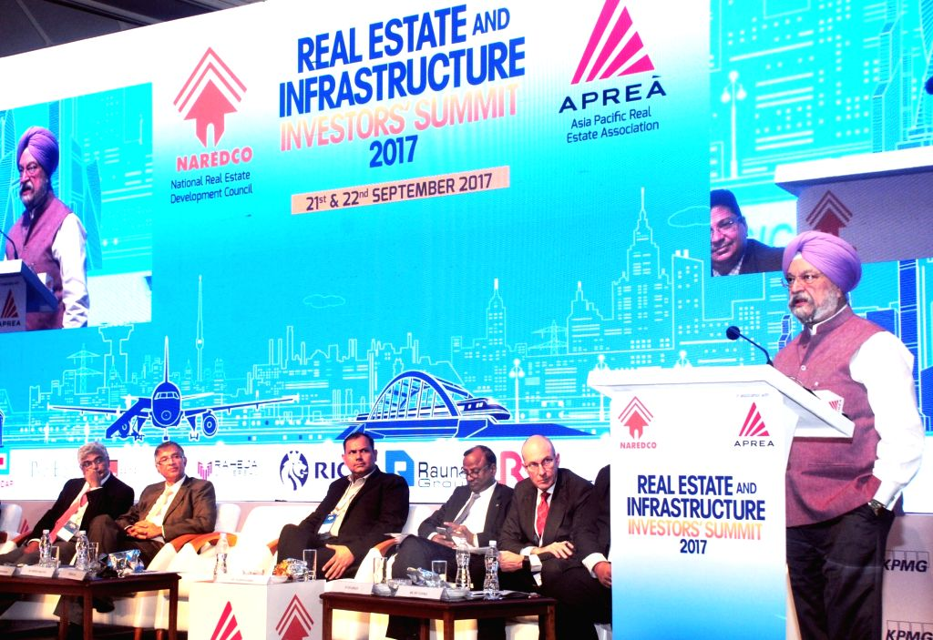 Union MoS Housing and Urban Affairs Hardeep Singh Puri addresses during the Real Estate and Infrastructure Investors Summit – 2017 in Mumbai on Sept 21, 2017.