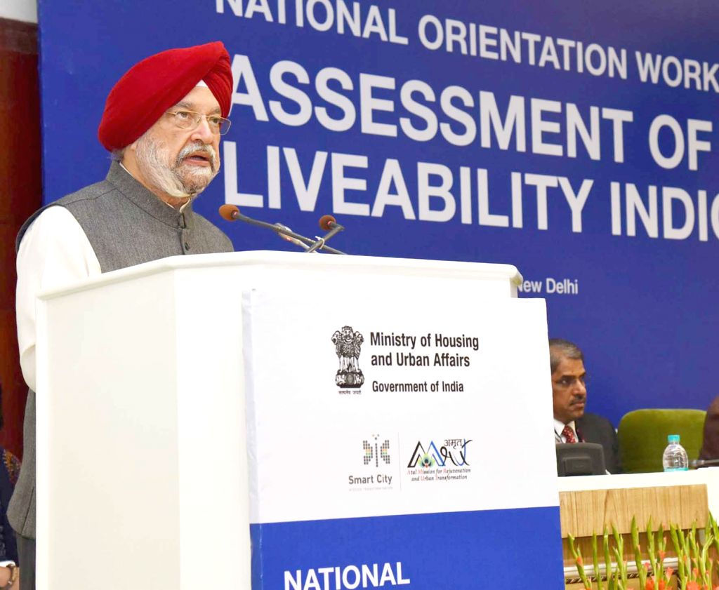Union MoS Housing and Urban Affairs Hardeep Singh Puri addresses at the inauguration of National Orientation Workshop on Assessment of Liveability Indices for 116 Cities in India, in New ...