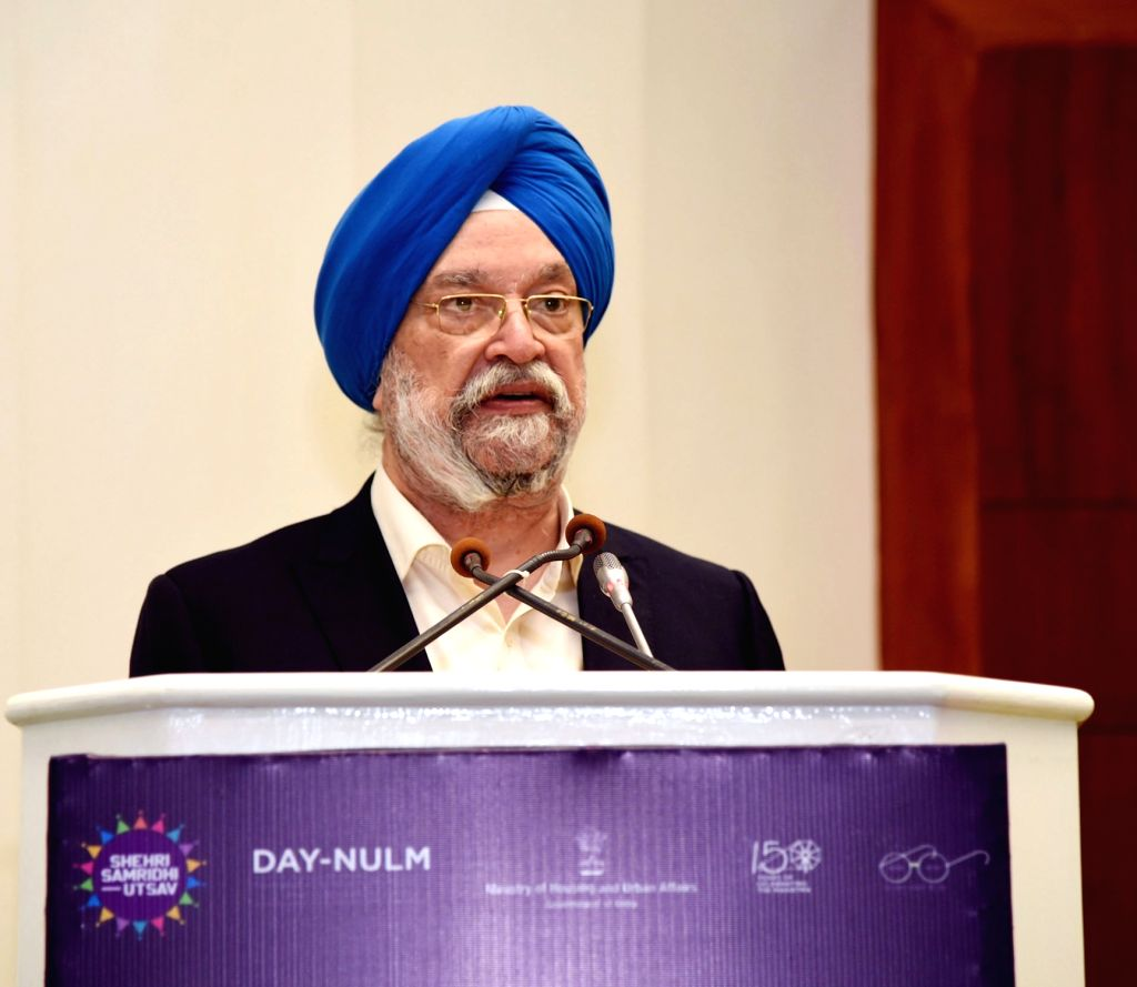 Union MoS Housing and Urban Affairs Hardeep Singh Puri addresses at the inauguration of 'National workshop on Street Vendors', in New Delhi on Feb 8, 2019.