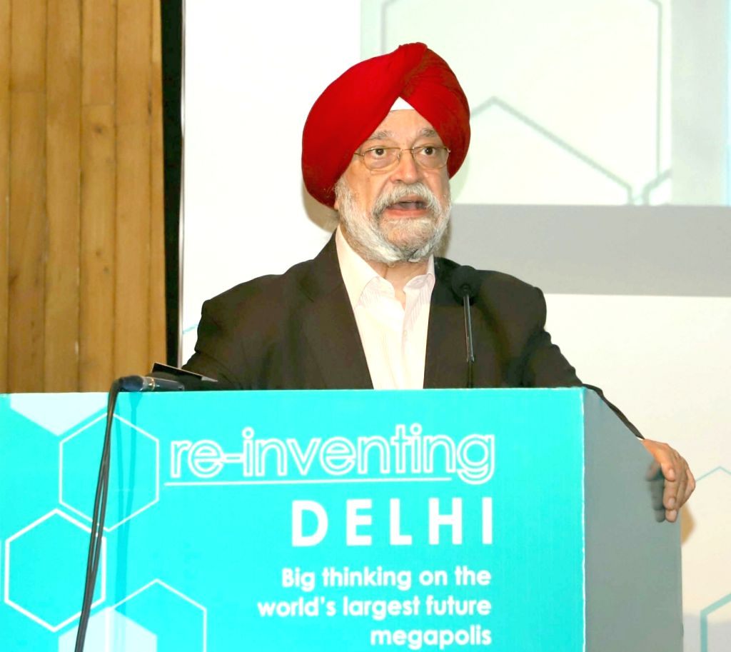 """Union MoS Housing and Urban Affairs Hardeep Singh Puri addresses at the inauguration of an international conference on """"Re-Inventing Delhi"""", in New Delhi, on Feb 19, 2019."""