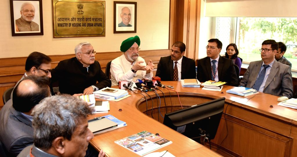 Union MoS Housing and Urban Affairs Hardeep Singh Puri addresses a press conference on the five years achievement of the Ministry of Housing and Urban Affairs, in New Delhi, on March 6, ...