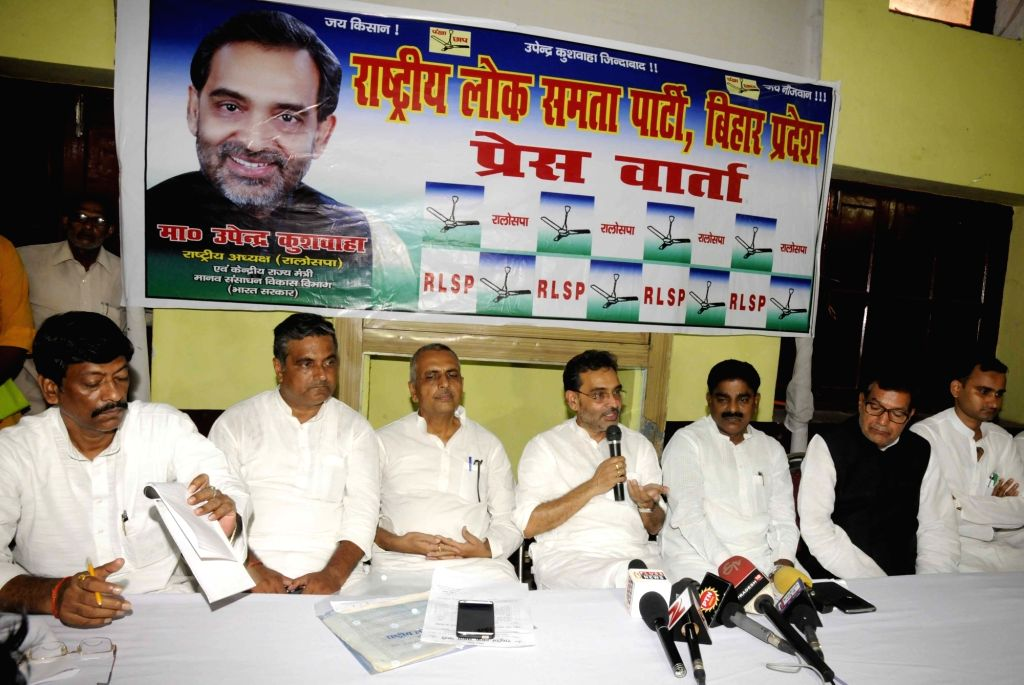 Union MoS HRD Upendra Kushwaha addresses a press conference in Patna on July 30, 2016.