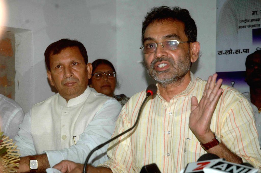 Union MoS HRD Upendra Kushwaha addresses a press conference in Patna on Aug 14, 2016.