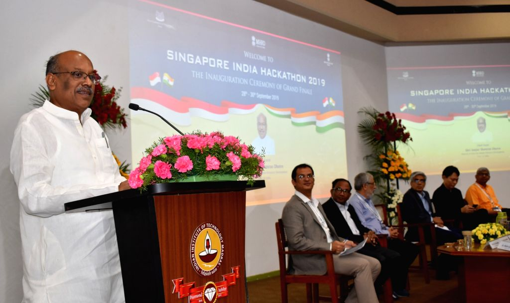 Union MoS Human Resource Development, Communications and Information Technology Dhotre Sanjay Shamrao addresses at the Singapore India Hackathon, 2019 at IIT-Madras in Chennai on Sep 28, ...