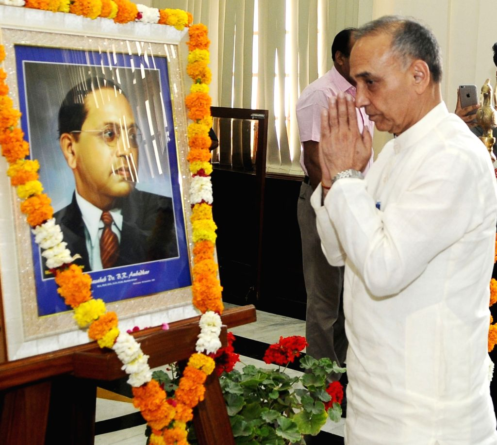 Union MoS Human Resource Development and Water Resources, River Development and Ganga Rejuvenation Satya Pal Singh pays homage to Dr. B.R. Ambedkar on his 127th birth anniversary, in New ...