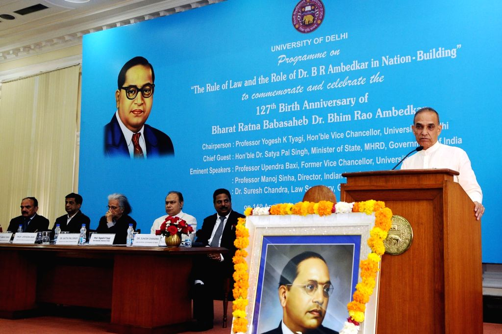 """Union MoS Human Resource Development and Water Resources, River Development and Ganga Rejuvenation Satya Pal Singh addresses during a programme on """"The Rule of Law and the Role of Dr. ... - Bhim Rao Ambedkar"""
