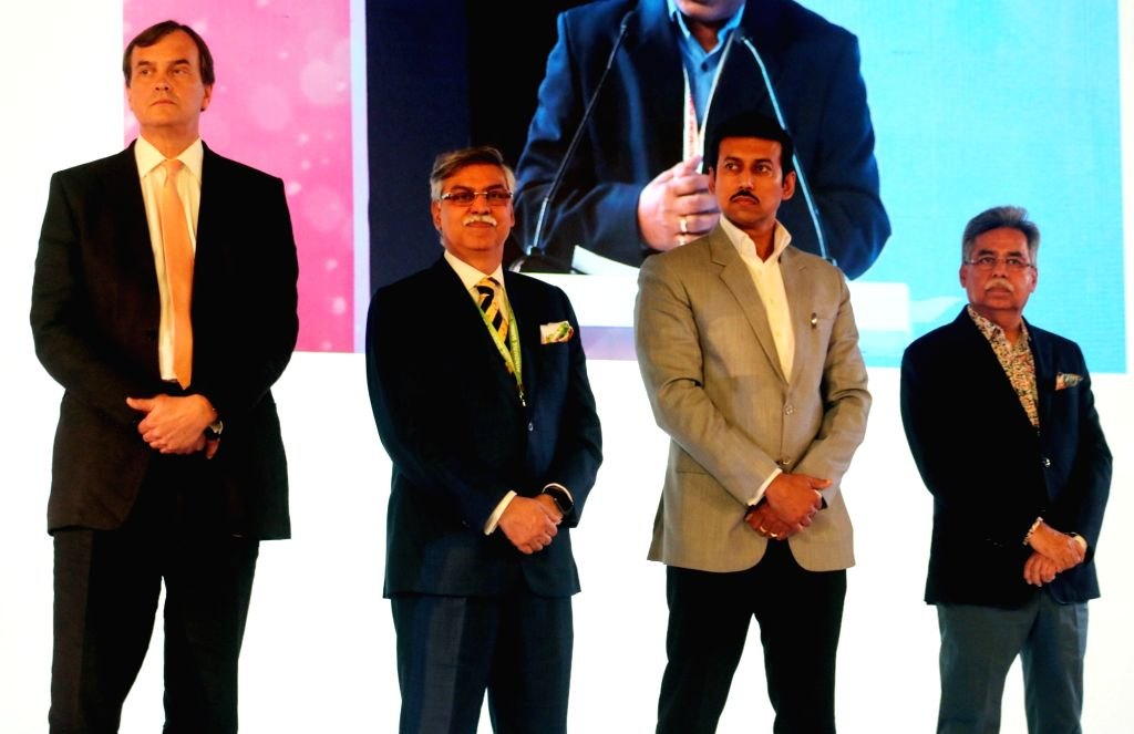 Union MoS Information and Broadcasting Rajyavardhan Singh Rathore and British High Commissioner to India Dominic Asquith with Hero Corporate Service Pvt Ltd Chairman Sunil Kant Munjal and ... - Rajyavardhan Singh Rathore