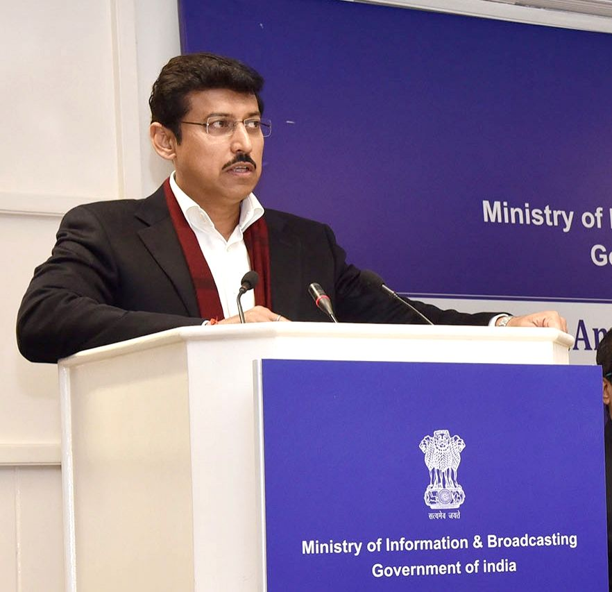 Union MoS Information and Broadcasting Rajyavardhan Singh Rathore addresses at the First All India Annual Conference of Media Units in New Delhi, on Feb 13, 2019. - Rajyavardhan Singh Rathore