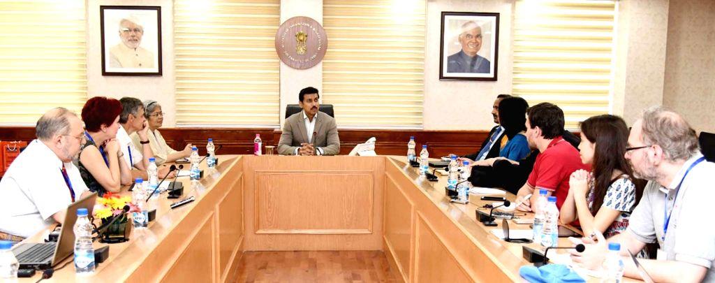 Union MoS Information & Broadcasting (I/C) Rajyavardhan Singh Rathore during a meeting with Russian journalists, in New Delhi, on Sept 17, 2018. - Rajyavardhan Singh Rathore