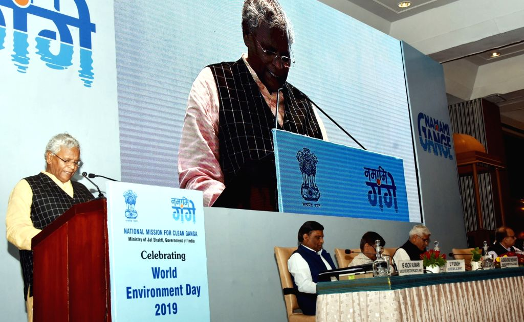 Union MoS Jal Shakti Rattan Lal Kataria addresses at a programme on National Mission for Clean Ganga (NMCG) organized by the Ministry of Jal Shakti, on World Environment Day, in New Delhi ...